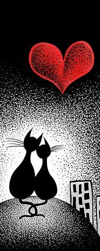 Аватар вконтакте Две кошки сидят рядом ночью, на небе сердце