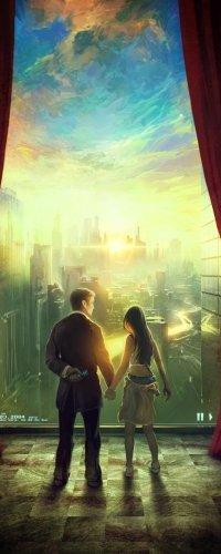 Аватар вконтакте Парень и девушка стоят рядом, взявшись за руки, на фоне рассвета над городом, работа Nostalgia for the Dawn / ностальгия перед рассветом, художник RHADS