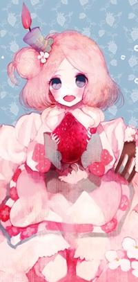 Аватар вконтакте Милая розововолосая девушка, на голове которой шляпка в виде горящей свечи, держит клубничку в руках, арт мангаки Pechika