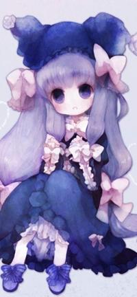 Аватар вконтакте Милая девушка с с сиреневыми волосами и синими глазами, арт мангаки Pechika