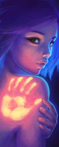 Аватар вконтакте Девушка с отпечатком руки на плече, художница DestinyBlue
