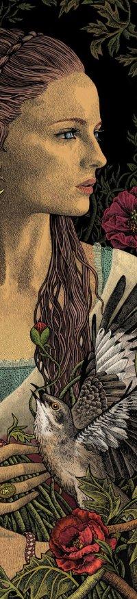 Аватар вконтакте Девушка в окружении цветов с птицей на руке, художник bubug