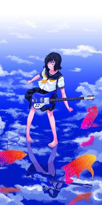 Аватар вконтакте Девушка в школьной форме с гитарой стоит на поверхности воды, в которой отражаются облака, рядом плавают золотые рыбки