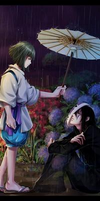 Аватар вконтакте Haku / Хаку ндает зонтик Каонаси / Kaonashi из аниме Spirited Away / Унесенные призраками