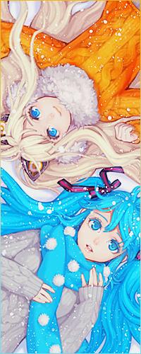 Аватар вконтакте Вокалоид Хатсуне Мику / Vocaloid Hatsune Miku и Вокалоид Иа / Vocaloid IA лежат на снегу