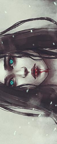 Аватар вконтакте Девушка с проницательным зелеными глазами стоит во время снегопада, с ее губ стекает кровь