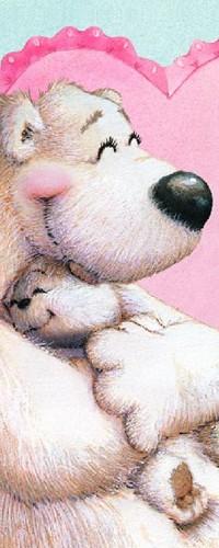 99px.ru аватар Белый медведь обнимает медвежонка на фоне сердечка