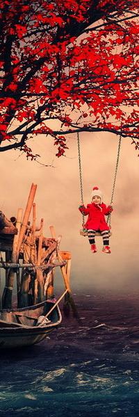 Аватар вконтакте Девочка в красном пальто, сидящая на качелях, подвешенных цепями к ветке дерева с красными листьями над морским берегом со стоящей возле деревянного причала лодкой