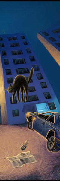 Аватар вконтакте Едущий автомобиль, резко затормозил перед многоэтажным домом, увидев подпрыгнувшего вверх черного кота с изогнутой спиной на фоне вечернего неба, автор Romiro