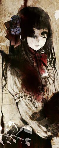99px.ru аватар Темноволосая зеленоглазая девушка с заплетенным коричневым бантом, с голубыми цветами в волосах, одетая в белую блузку с красным бантом