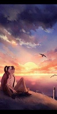 Аватар вконтакте Влюбленные девушка и парень, тесно прижавшись друг к другу, сидящие на пригорке, любуются закатом солнца и парящими в небе птицами, автор niken anindita
