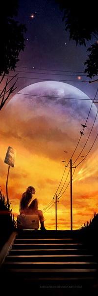 Аватар вконтакте Девушка с надетыми наушниками, сидящая на чемодане с колесиками на деревянной лестнице перрона на фоне красивого желтого заката на вечернем, звездном небе и взошедшей планетой, автор niken anindita