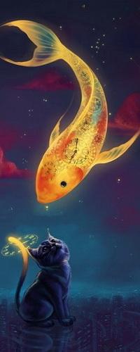 Аватар вконтакте Рыба с циферблатами часов летает в небе над городом, снизу на нее смотрит испуганный кот