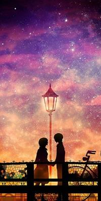 Аватар вконтакте Влюбленная пара под фонарем из аниме Шепот Сердца / Mimi wo Sumaseba