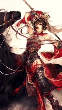 Аватар вконтакте Девушка-воин, сидя на коне, замахнулась копьем, работа художника Ibuki Satsuki