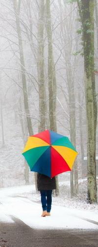 Аватар вконтакте Человек, идущий под разноцветным зонтиком по мокрой аллее парка со свежевыпавшим снегом