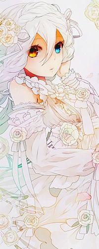 Аватар вконтакте Аниме девушка с белыми волосами, с голубыми и золотыми глазами, одетая в свадебное платье