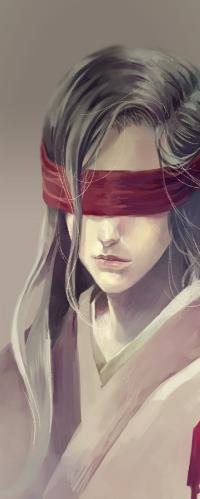 В красном платье с завязанными глазами