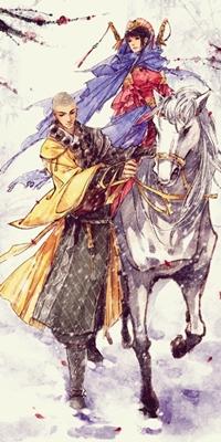 Аватар вконтакте Ученик школы шаолинь ведет белого коня, на котором сидит его прекрасная спутница-воин, работа художника Ibuki Satsuki