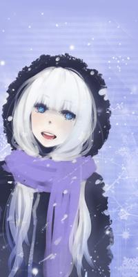 Аватар вконтакте Синеглазая девушка с белыми волосами, в темно-синем пальто с капюшоном и сиреневом шарфе, зимой в снегопад, улыбаясь, стоит на сиреневом фоне со снежинками