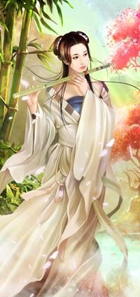 Аватар вконтакте Азиатка в бамбуковом лесу играет на флейте