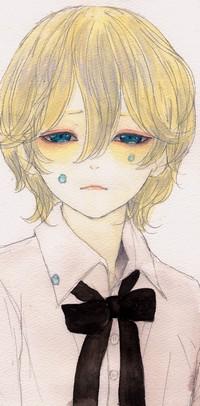 Аватар вконтакте Мальчик блондин с голубыми глазами из которых текут слезы и падают в виде драгоценных камней