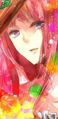 Аватар вконтакте Розововолосая девушка смотрит куда-то