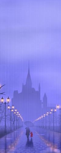 Аватар вконтакте Мужчина с зонтиком, держащий за руку маленькую девочку в красном пальто, идущие под сильным дождем по освещенной аллее на фоне пасмурного вечернего неба