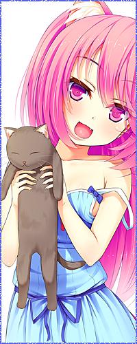 Аватар вконтакте Розоволосая анимешная девочка с розовыми неко-ушками в голубом платье со спущенной бретелькой, радостно улыбаясь, держит в руках кота