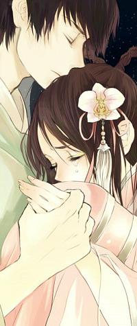 Аватар вконтакте Парень обнимает плачущую девушку, держа ее за руку, аrt by Eiri