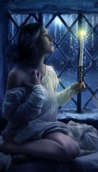 Аватар вконтакте Красивая девушка, сидящая в ночной, белой рубашке на подоконнике окна с зажженной свечой, за окном висят ледяные сосульки