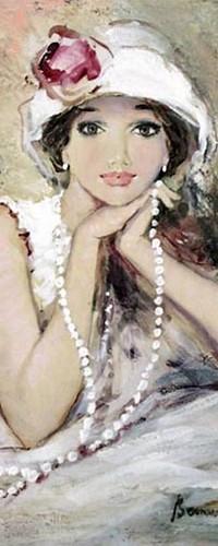 Аватар вконтакте Девушка в белой шляпе с розой и бусами в руках