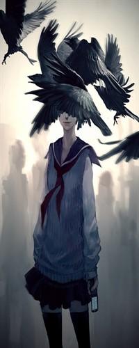 Аватар вконтакте Девушка держит в руке мобильный телефон\на переднем плане летят вороны