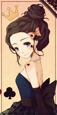 Аватар вконтакте Девушка с пучком на голове и заколкой в виде бантика, на щеке которой тату в виде пики, а на плече в виде сердечка, стоит на фоне трефы, а над ее головой виднеется корона, арт мангаки Cartoongirl7