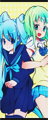 Аватар вконтакте Вокалоид Хатсуне Мику / Vocaloid Hatsune Miku и Вокалоид Гуми Мегпоид / Vocaloid Gumi Megpoid в школьной форме держатся за локти
