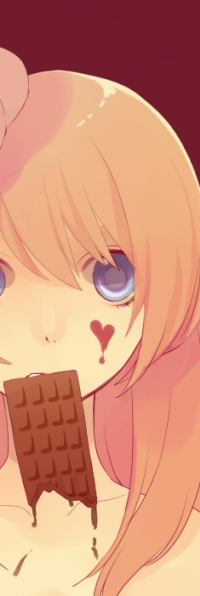 Аватар вконтакте Девочка с шоколадкой в руке и сердечком на лице
