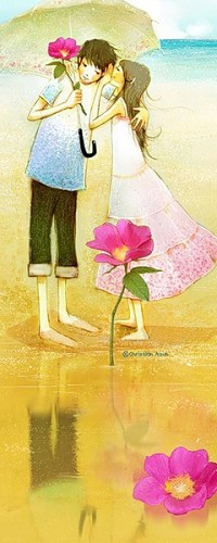 Аватар вконтакте Мальчик с зонтом и цветком около воды, девочка шепчет ему на ухо