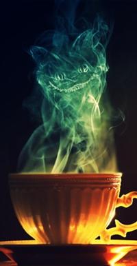 Аватар вконтакте Пар из чашки создает образ Чеширского кота / Cheshire-Cat из сказки Алиса в стране чудес / Alice in Wonderland