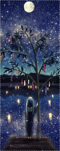 Аватар вконтакте Девушка в юката стоит возле дерева желаний на фоне фонариков, плывущих по воде и полной луны