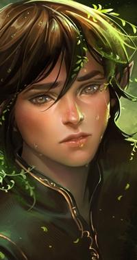 Аватар вконтакте Парень - эльф с карими глазами, с волос которого растет трава, арт художника sakimichan