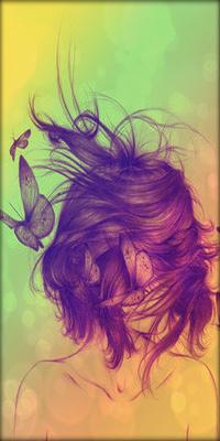 Аватар вконтакте Волосы закрывают лицо девушке, возле нее летают бабочки