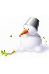 Аватар вконтакте Снеговик на белом фоне с железным ведерком на голове и красной морковкой