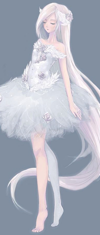 Аватар вконтакте Девушка, с длинными волосами и в белоснежном платьем в цветах, стоит с закрытыми глазами на сером фоне, автор Hachiyuki (Eiram)
