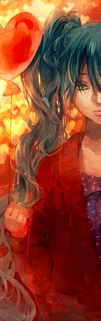 Аватар вконтакте Вокалоид Мику Хатсуне / Miku Hatsune с грустным лицом стоит держа в руке шарик в виде сердца