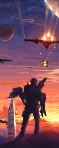 Аватар вконтакте Мужчина держит девушку на руках, над ними бомбят самолеты