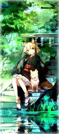 Аватар вконтакте Неко-девушка с собакой сидят на ступеньках, уходящих в воду