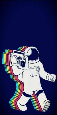 Аватар вконтакте Космонавтов с магнитофоном оставляет за собой радужный след