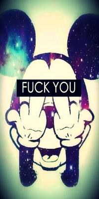 Аватар вконтакте Mickey Mouse / Микки Маус показывает два средних ...