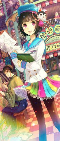 Аватар вконтакте Аниме девушка с рисунками в юбке мило улыбается, автор Fuji Choko