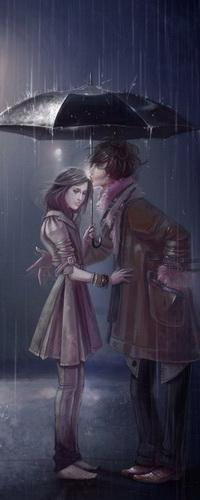 Аватар вконтакте Влюбленные парень с девушкой, держащие в руках черный зонтик, стоящие на дороге под проливным дождем